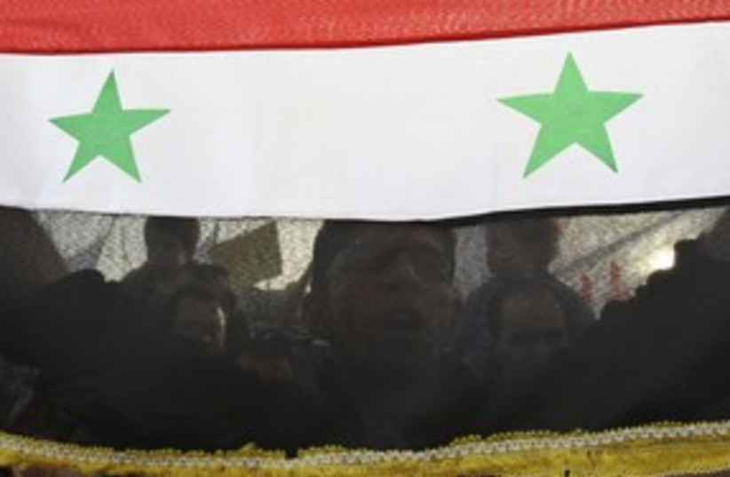 syrian flag and protester_311 reuters (photo credit: Muhammad Hamed / Reuters)
