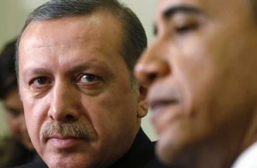 obama and erdogan (photo credit: Kevin Lamarque / Reuters)