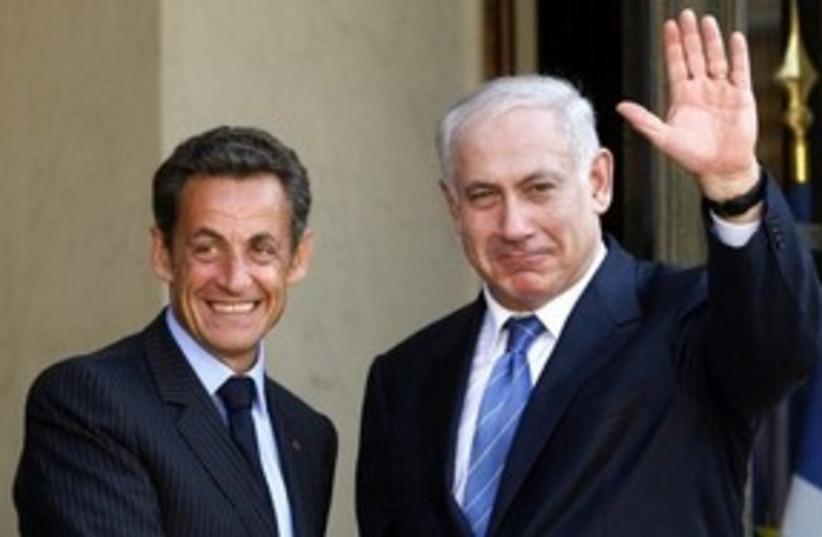 PM Netanyahu with French President Nicolas Sarkozy 311 (R) (photo credit: REUTERS/Benoit Tessier)