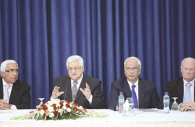 PA President Mahmoud Abbas meets with Israeli peace group 31 (photo credit: Marc Israel Sellem/The Jerusalem Post)