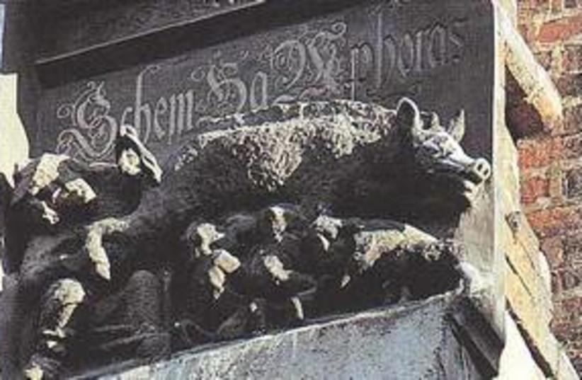 Wittenberg Church shows rabbi peering into sow's anus 311 (photo credit: Wikicommons )