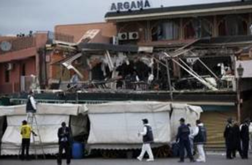 Scene of Moroccan cafe bombing 311 (R) (photo credit: REUTERS/Youssef Boudlal)