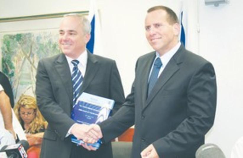 Finance Minister Yuval Steinitz and Ilan Levin 311 (photo credit: Yael Simhon)