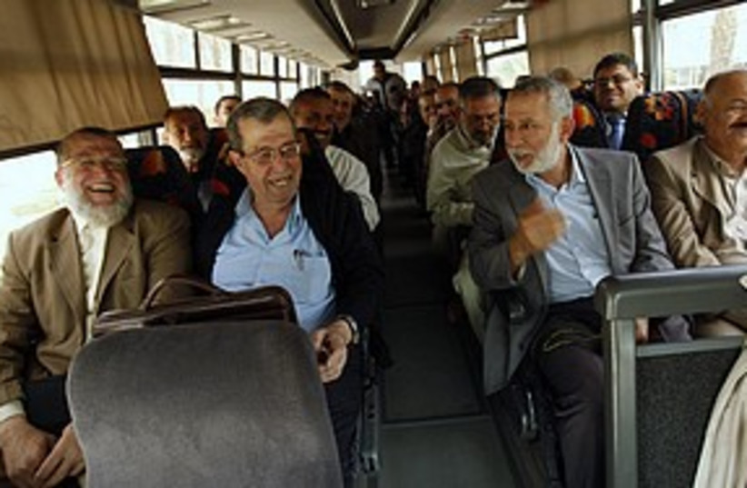 Palestinian factions on bus 311 R (photo credit: Reuters)