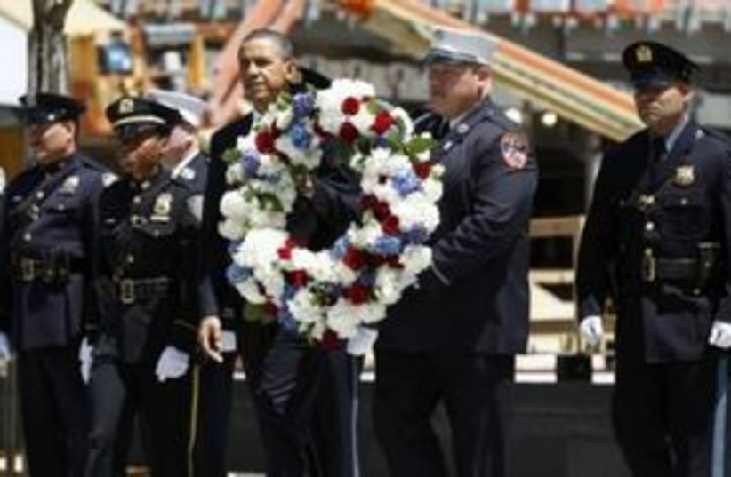 US President Barack Obama at Ground Zero in NY 311 (R) (photo credit: REUTERS/Kevin Lamarque )