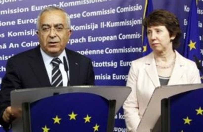 PA Prime Minister Fayyad with EU Catherine Ashton 311 (R) (photo credit: REUTERS/Thierry Roge)