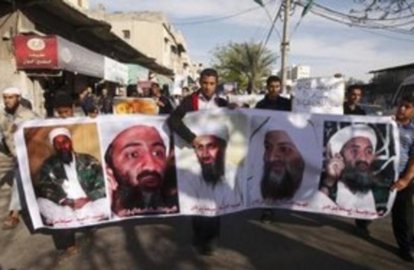Bin Laden Rally Gaza 311 (photo credit: REUTERS)