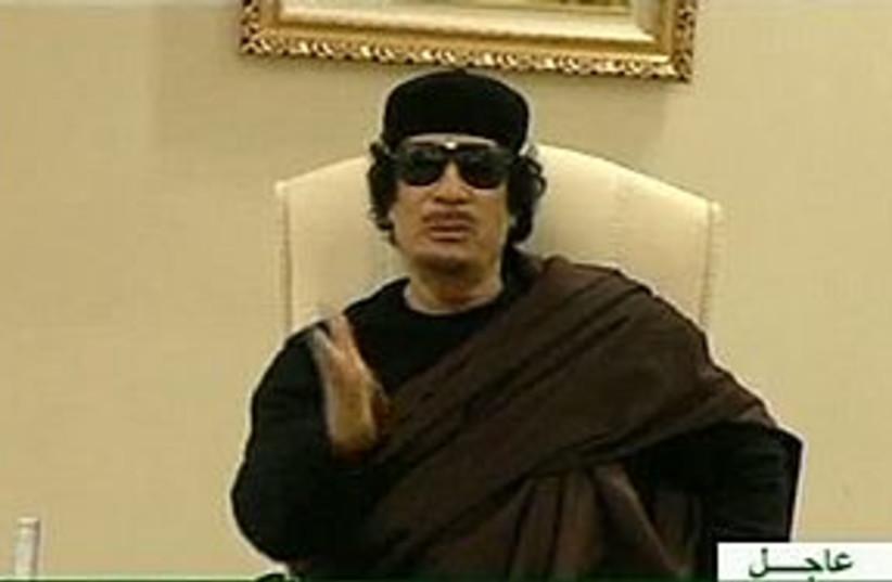 Gaddafi on state TV 311 (photo credit: REUTERS/Libyan TV)