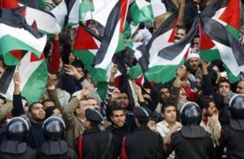 Pro-Palestinian protesters in Cairo 311 (R) (photo credit: Nasser Nuri / Reuters)