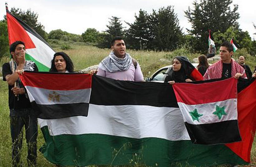 Protesters at a Northern sit-in on Nakba Day