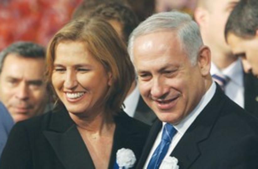 Livni and Netanyahu 311 (photo credit: Reuters)