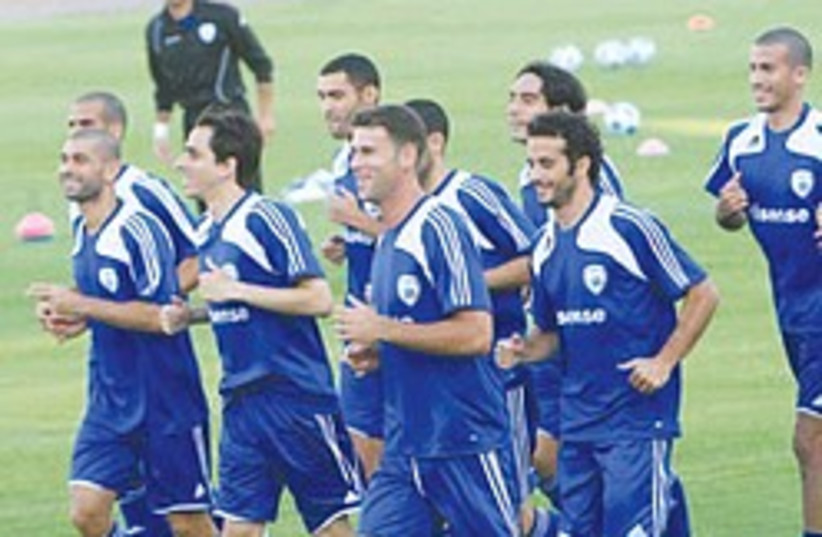 The Israeli national team players during a squad training session earlier in the week. (photo credit:  Adi Avishai)