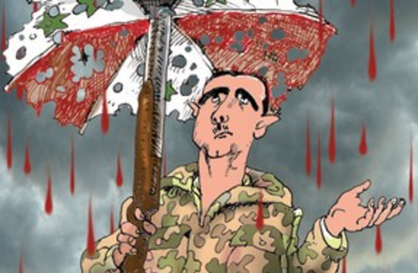 Bashar Assad cartoon 311 (do not publish again) (photo credit: AVI KATZ)
