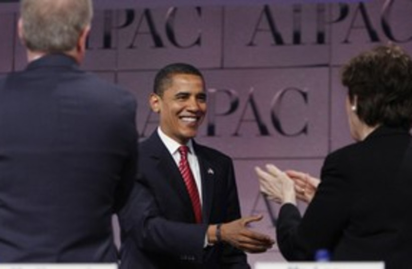 US President Barack Obama at AIPAC 311 (R) (photo credit: Jason Reed / Reuters)