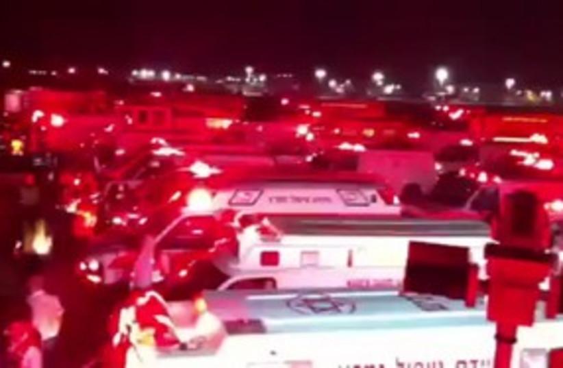 MDA ambulances waiting at Ben Gurion airport 311 (photo credit: Courtesy MDA)