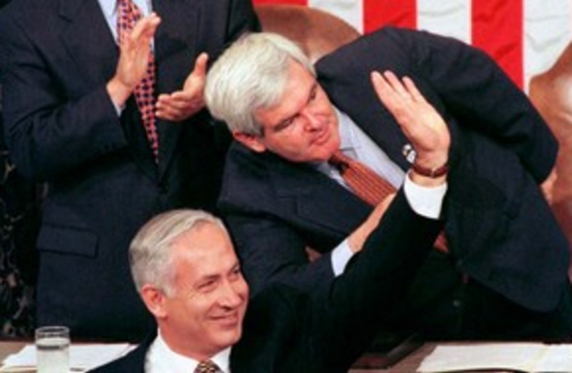 PM Netanyahu addresses congress in 1996 311 (R) (photo credit: REUTERS)