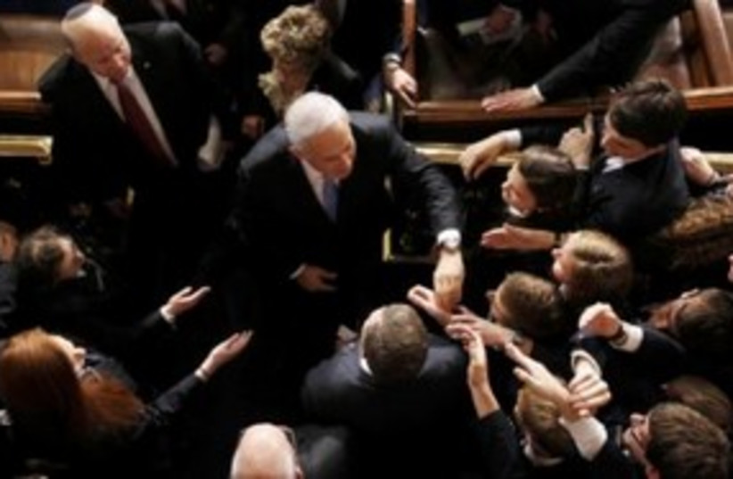 US Congresspeople shake hands with Netanyahu 311 (R) (photo credit: REUTERS/Stelios Varias)