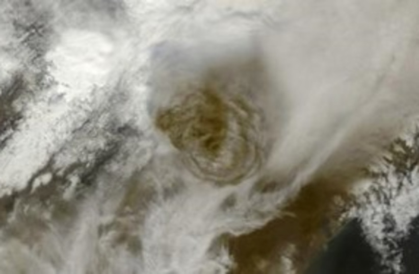 Satellite imagery shows ash plume from Grimsvotn volcano 311 (photo credit: REUTERS/NASA)
