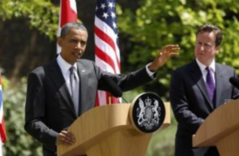 US President Obama with UK PM Cameron 311 (R) (photo credit: REUTERS/Kevin Lamarque)
