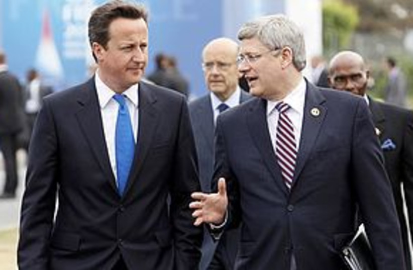 Canada PM Harper with British PM Cameron 311 (photo credit: REUTERS)