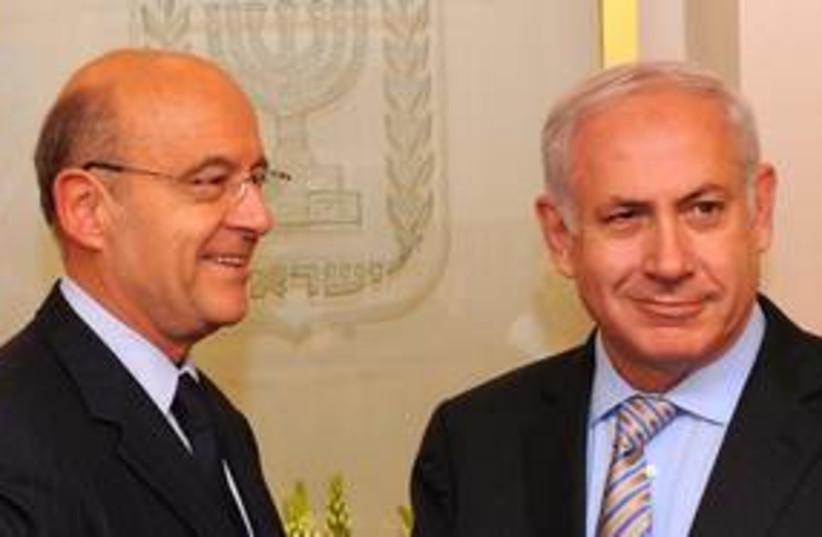 PM Netanyahu and French FM Juppe58 (R) (photo credit: Avi Ohayon / GPO)