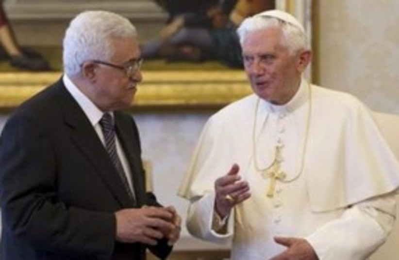 Pope Benedict XVI and PA President Abbas at Vatican 311 (R) (photo credit: REUTERS/Andrew Medichini)