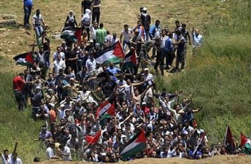 Protestors on the Syrian-Israeli border.