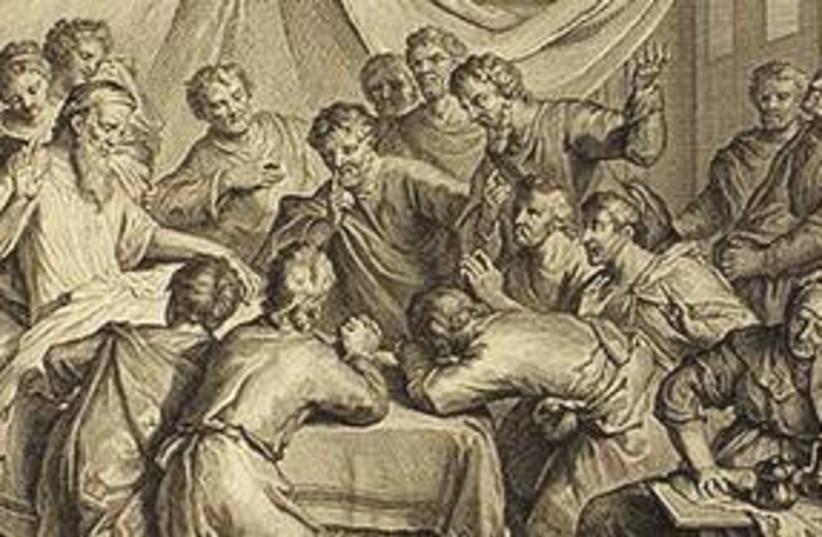 JACOB BLESSES his sons - 1728 'Figures de la Bible' 311 (photo credit: Courtesy)