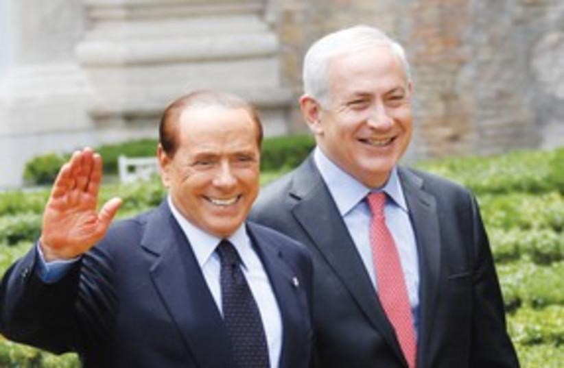 Berlusconi with Netanyahu 311 (photo credit: REUTERS)