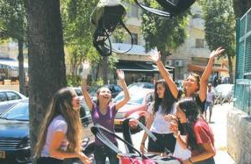 School children celebrate vacation 311 (photo credit: Marc Israel Sellem / The Jerusalem Post)