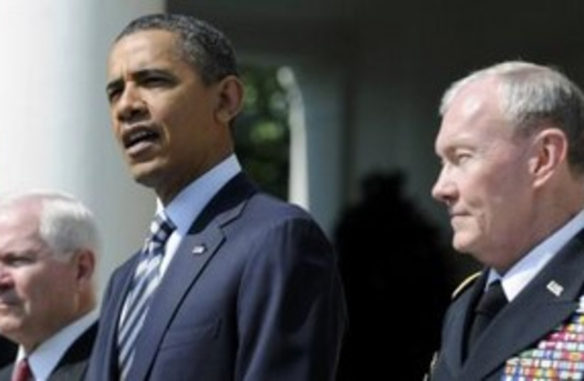 US President Obama and Robert Gates 311 (R) (photo credit: REUTERS/Jonathan Ernst )