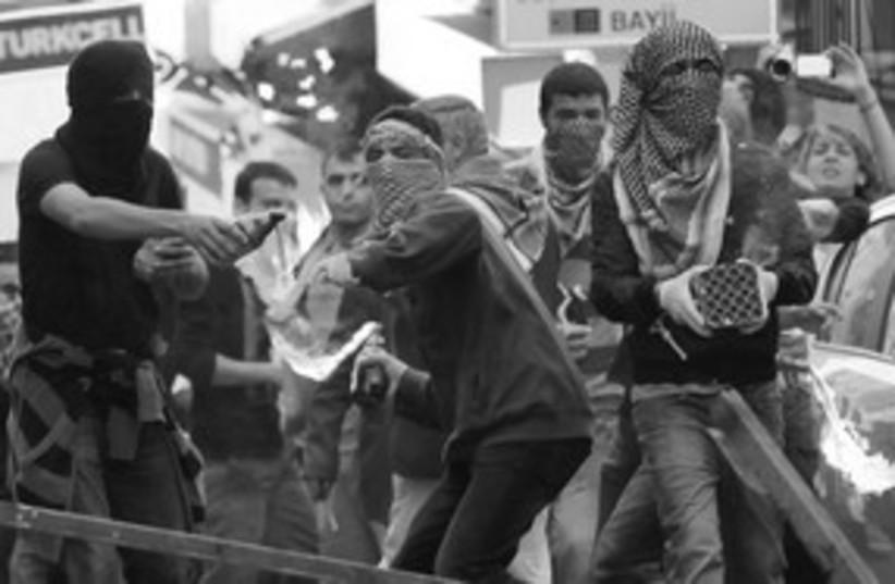 Kurdish demonstrators in Istanbul (photo credit: REUTERS)