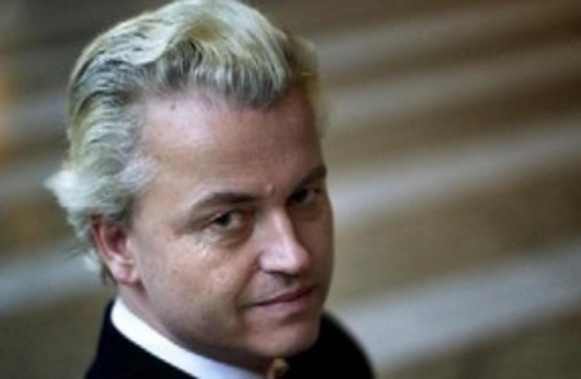 Dutch politician Geert Wilders 311 (R) (photo credit: Reuters/Jerry Lampen)