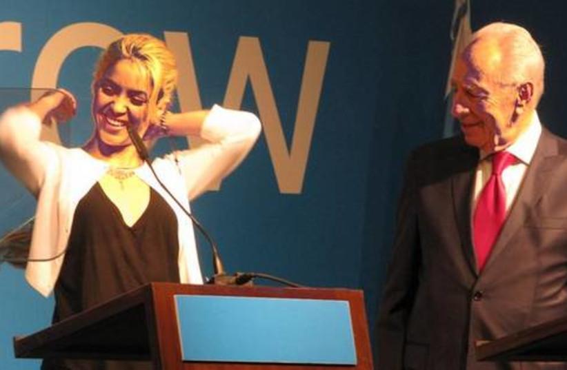 Shakira and Pres Peres at IPC (photo credit: Deborah Danan)