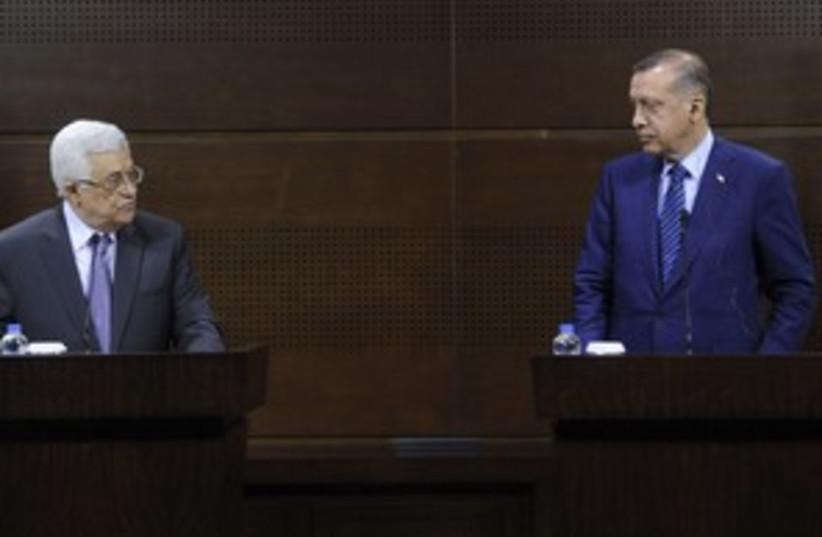abbas and erdogan (photo credit: Stringer Turkey / Reuters)