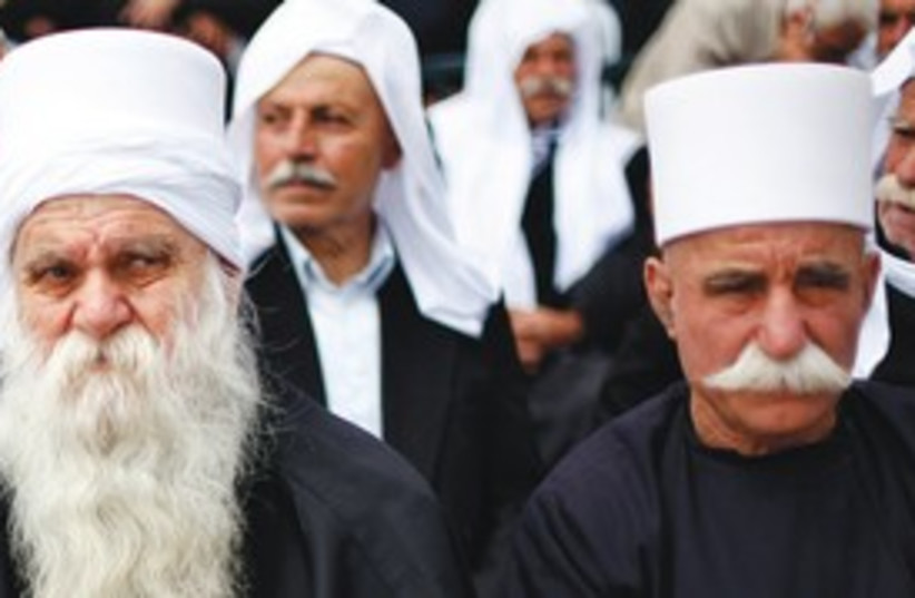 Druse men gather to mark Syria's independence from France in (photo credit: reuters)