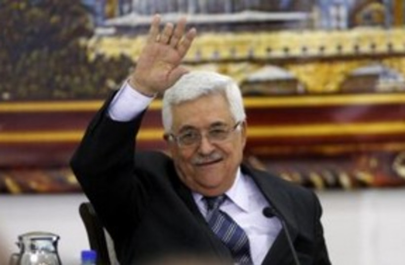 PA President Abbas at PLO Executive meeting 311 (R) (photo credit: REUTERS/Mohamad Torokman)