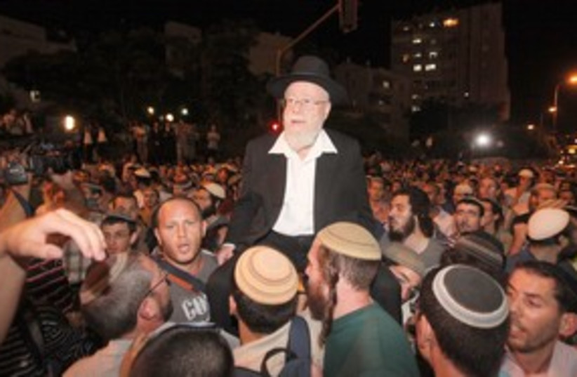 Rabbi Lior with supporters in Jerusalem (photo credit: Marc Israel Sellem)