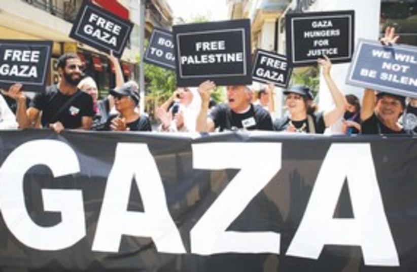 Gaza activists in Athens 311 (photo credit: REUTERS)