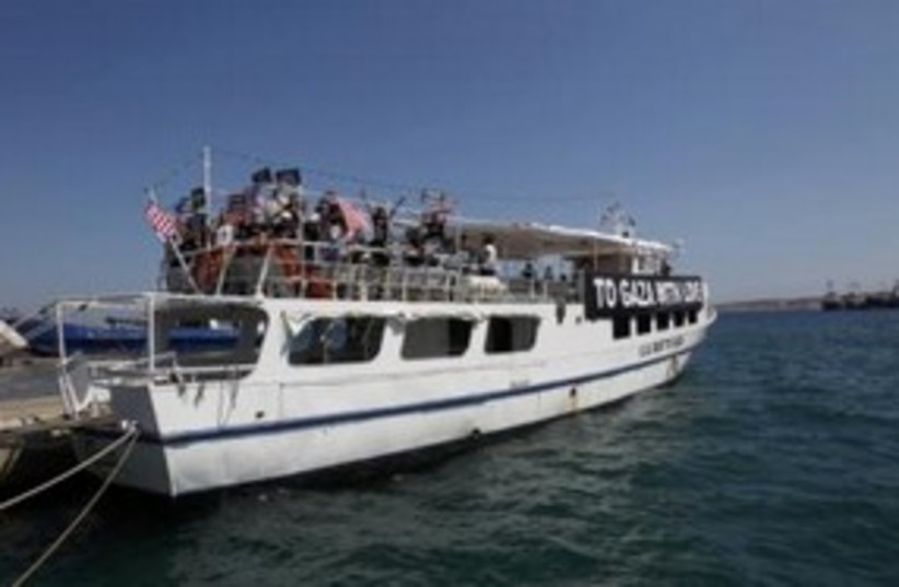 US boat to Gaza flotilla 'Audacity of Hope' 311 (R) (photo credit: REUTERS/John Kolesidis)