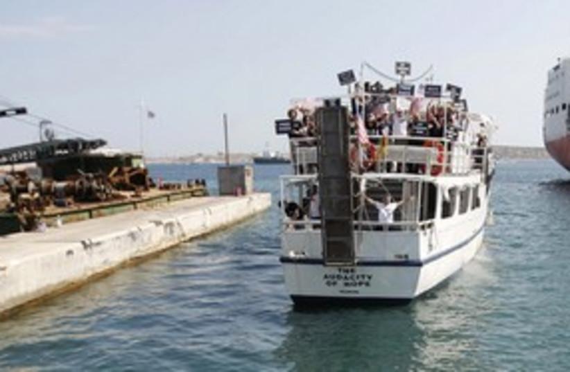 'The Audacity of Hope' US Gaza flotilla boat 311 (R) (photo credit: REUTERS/John Kolesidis)