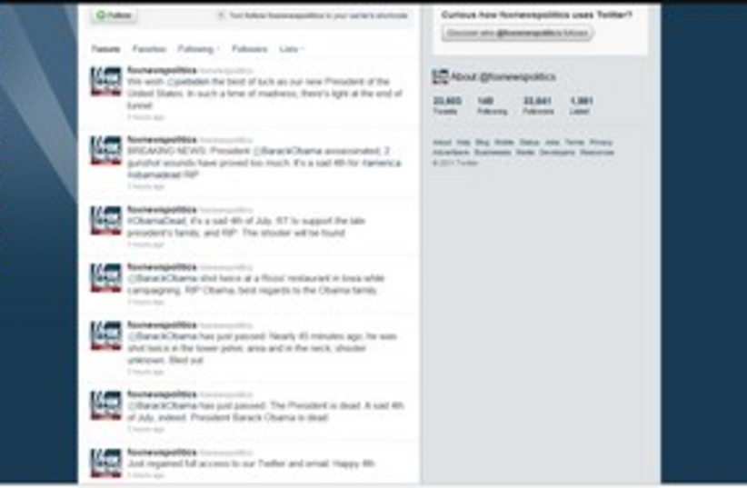 Fox Obama Twitter Hoax 311 (photo credit: Screen Shot)