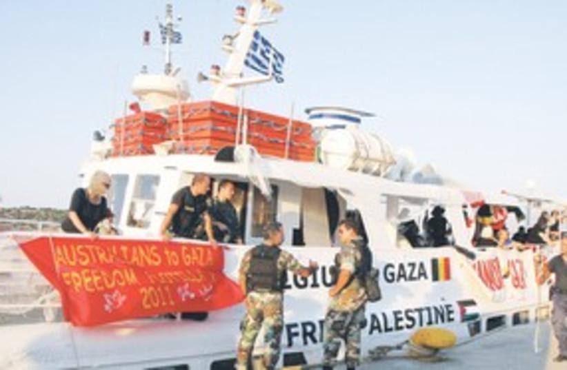 Canadian boat Tahrir flotilla_311 (photo credit: Reuters)