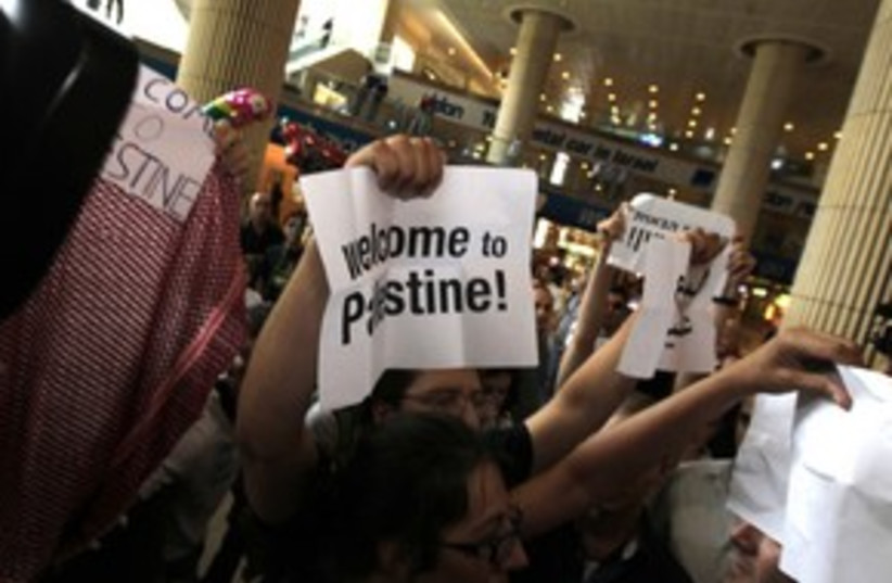 pro-palestinian activists at airport_311 reuters (photo credit: Ronen Zvulun / Reuters)