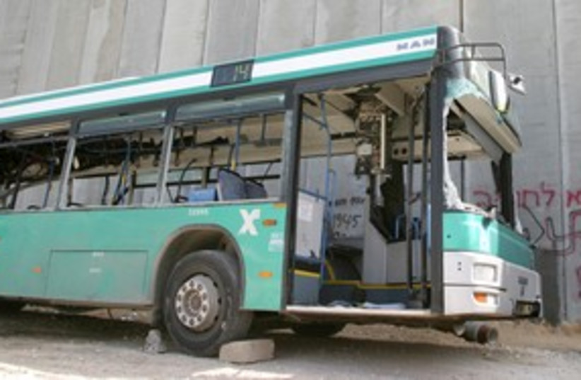Bombed out Egged bus terrorism terror attack 311 (R) (photo credit: REUTERS)