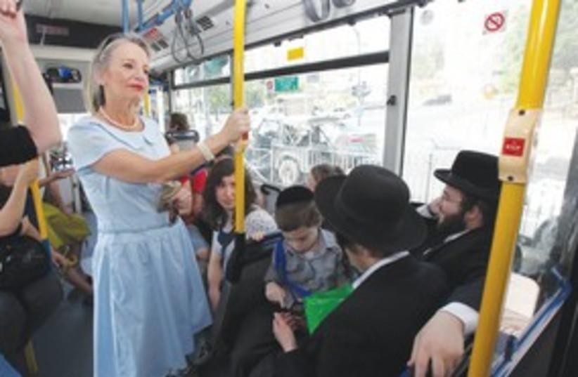 female haredi bus line mehadrin_311 (photo credit: Marc Israel Sellem / The Jerusalem Post)