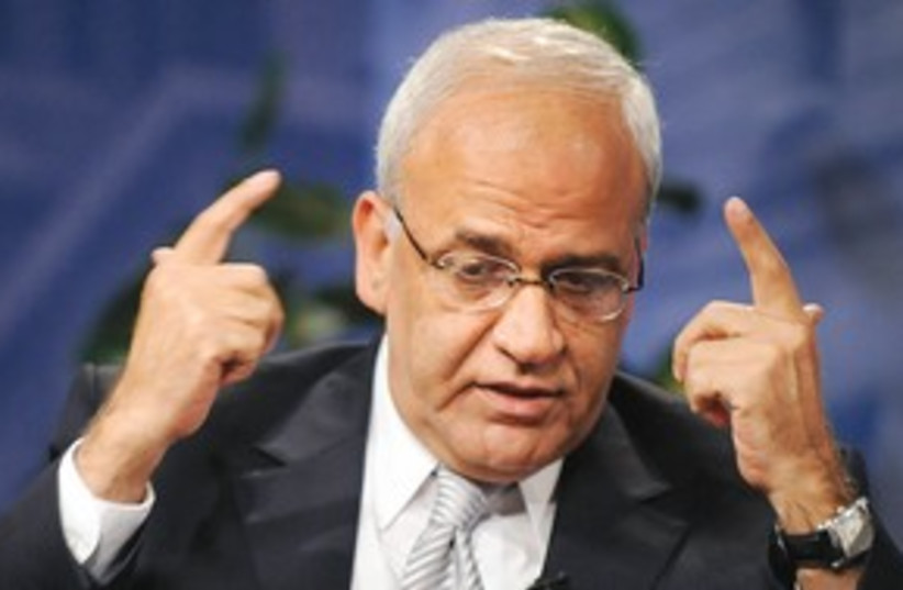 Erekat talking with hands in air 311 (photo credit: Jonathan Ernst/Reuters)