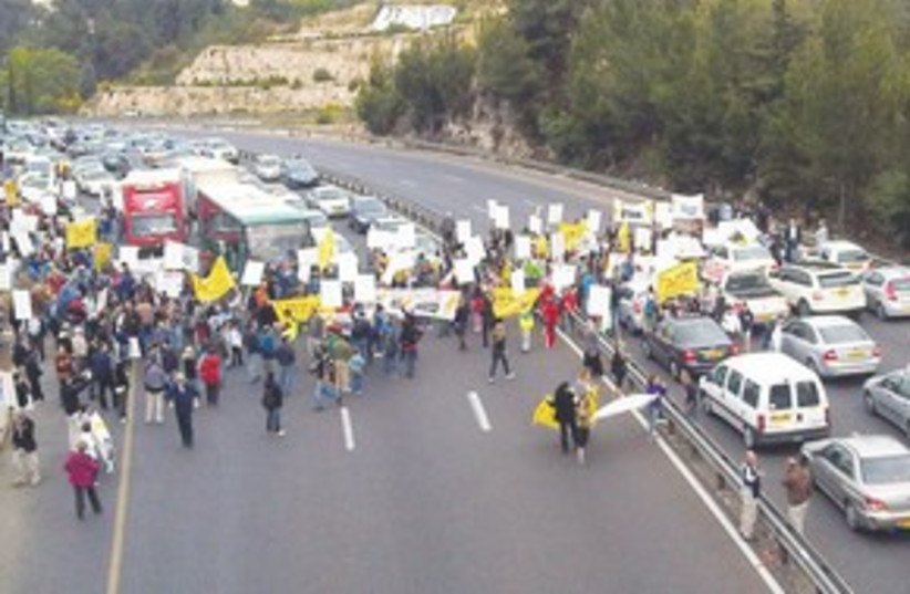 demonstrators against the Highway 1 expansion 311 (photo credit: Maor Avigail)