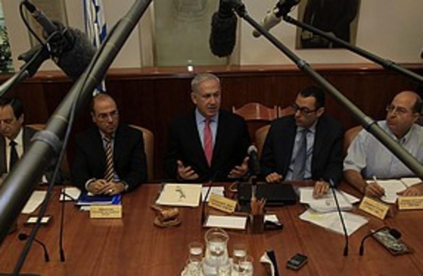 Netanyahu cabinet meeting 311 (photo credit: REUTERS/Ronen Zvulun)