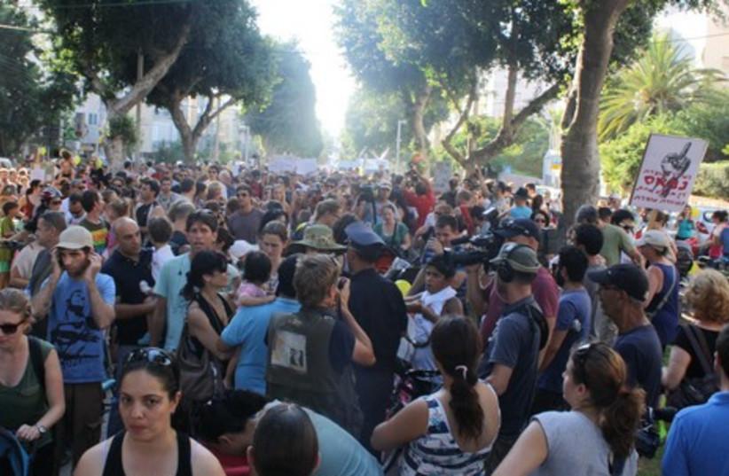 Protestors gather